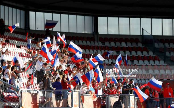 Supporters of Russia celebrate victory over Italy after the Group B match between Italy and Russia during the UEFA Women's Euro 2017 at Sparta...