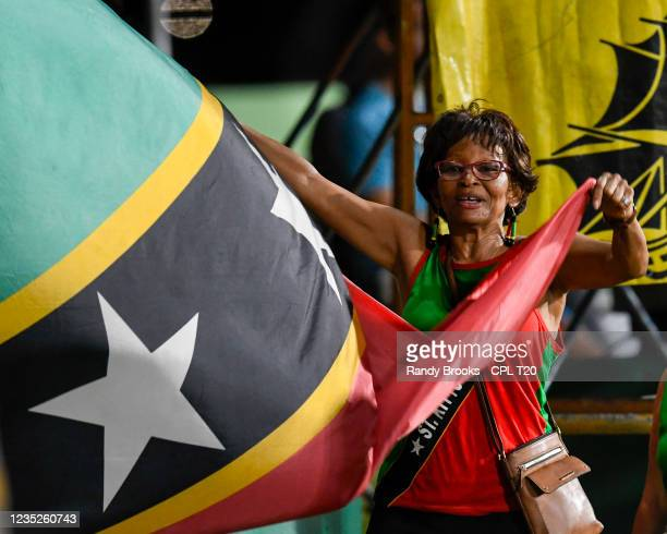 Supporters of Saint Kitts & Nevis Patriots during the 2021 Hero Caribbean Premier League Play-Off match 32 between Guyana Amazon Warriors and Saint...