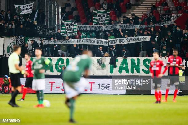 Supporters of SaintEtienne during the Ligue 1 match between EA Guingamp and AS SaintEtienne at Stade du Roudourou on December 20 2017 in Guingamp