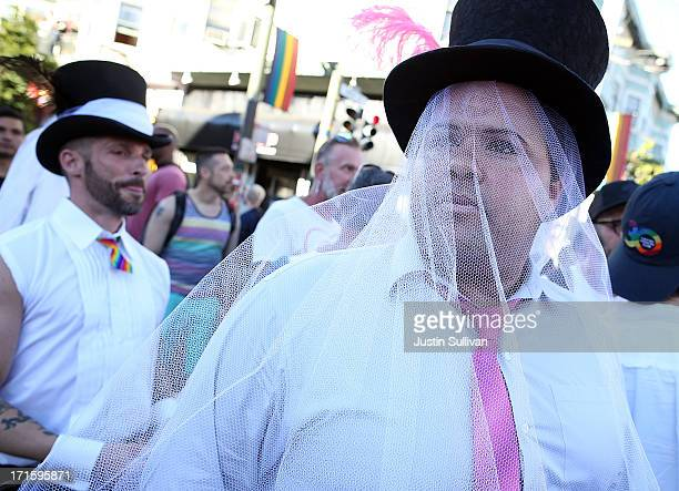 Supporters of samesex marriage celebrate during a block party on Castro Street on June 26 2013 in San Francisco California The Supreme Court of the...