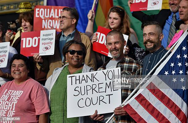Supporters of samesex marriage celebrate outside of City Hall after the US Supreme Court ruling in San Francisco California US on Friday June 26 2015...