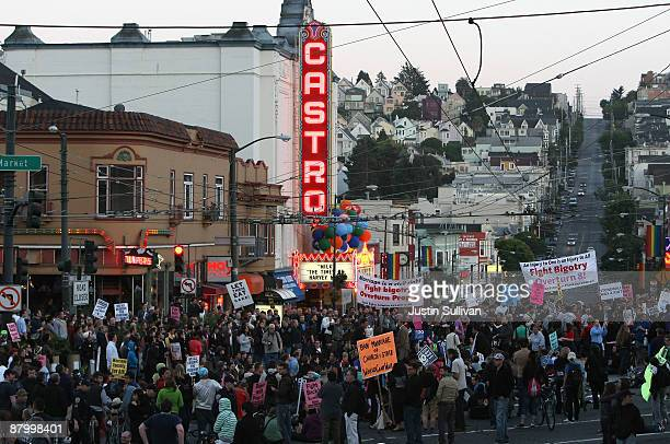 Supporters of samesex marriage fill the streets in the Castro district following the California Supreme Court's ruling to uphold Proposition 8 May 26...