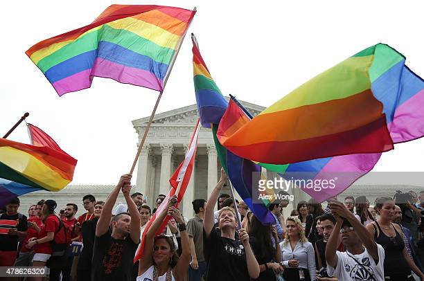 Supporters of samesex marriage rejoice outside the Supreme Court in Washington DC after the US Supreme Court hands down a ruling regarding samesex...