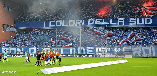 Supporters of Sampdoria during the Serie A match between UC Sampdoria and Genoa CFC at Stadio Luigi Ferraris on October 22 2016 in Genoa Italy