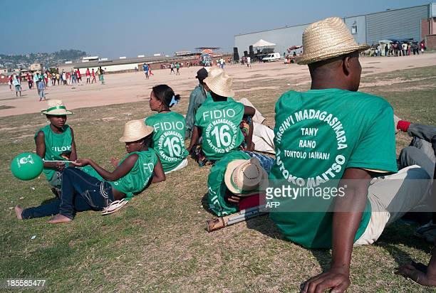 Supporters of Saraha Georget Rabeharisoa the leader of the environmentalist Malagasy party Antoko Maitso gather on October 22 2013 for in the...