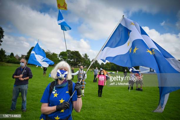 Supporters of Scottish independence gather at the site of the battle of Bannockburn for an 'All Under One Banner' event on August 19, 2020 in...