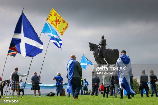 Supporters of Scottish independence gather at the site of the battle of Bannockburn for an 'All Under One Banner' event on August 19 2020 in...