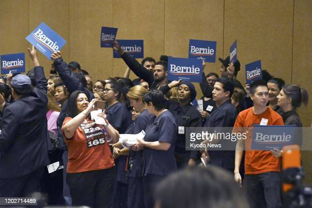 Supporters of Sen Bernie Sanders gather in Las Vegas on Feb 22 for the Nevada Democratic caucuses