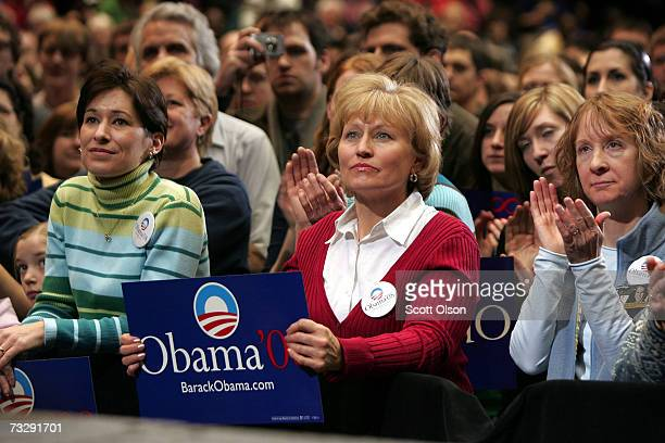 Supporters of Senator Barack Obama await the senator's arrival at a campaign rally at Iowa State University February 11 2007 in Ames Iowa Obama is...