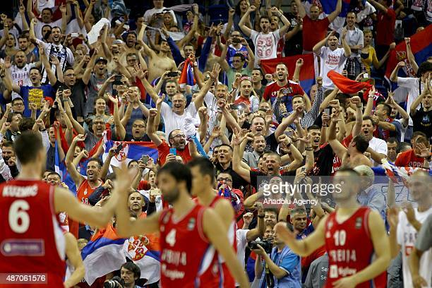 Supporters of Serbia are seen during the EuroBasket 2015 group B match between Spain and Serbia at MercedesBenz Arena in Berlin Germany on September...