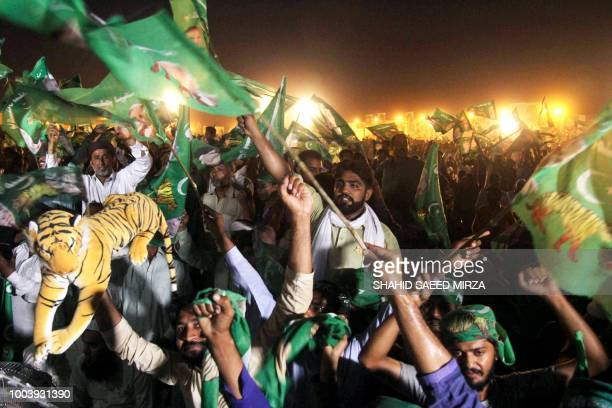 Supporters of Shahbaz Sharif the younger brother of ousted Pakistani Prime Minister Nawaz Sharif and head of Pakistan Muslim LeagueNawaz chant...