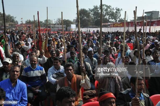 supporters of Sharad Yadav and Prakash Ambedkar holding lathis during ' lathi Rally' organised by Akhil Bhartiya Mahatma Phule Samta Parishad on...
