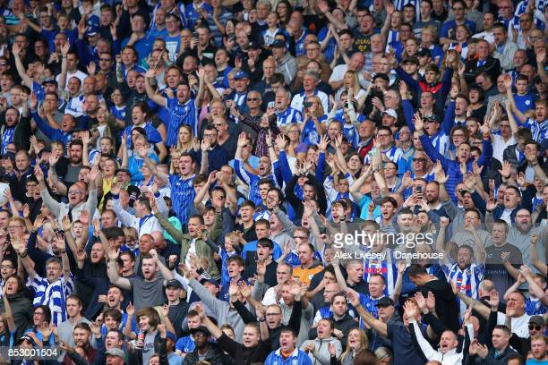 Supporters of Sheffield Wednesday cheer their team on during Sky Bet Championship match between Sheffield Wednesday and Sheffield United at...