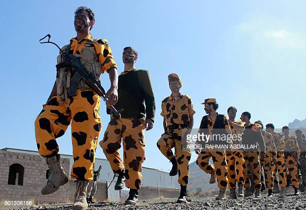 Supporters of Shiite Huthi rebels and militiamen attend a rally against the Arab coalition which has been leading the war against the Iranbacked...