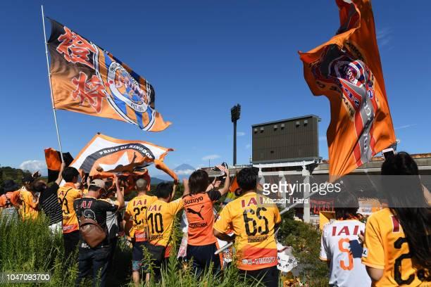 Supporters of Shimizu SPulse cheer before the JLeague J1 match between Shimizu SPulse and Jubilo Iwata at IAI Stadium Nihondaira October 7 2018 in...