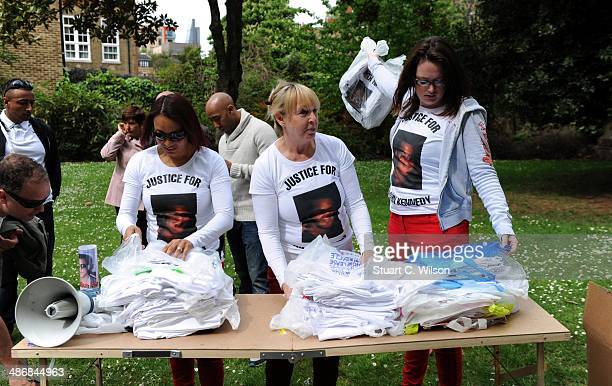 Supporters of Singer Jade Jones and his family prepare to march through East London on April 26 2014 in London England They are marching to appeal...