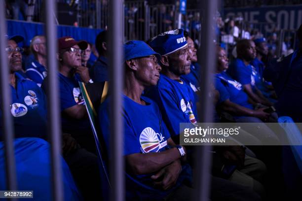 Supporters of South Africa's main opposition Democratic Alliance party attend a party conference on April 7, 2018 in Pretoria. Main opposition...