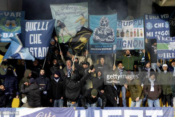 Supporters of Spal celebrate the victory after Serie A match between Benevento Calcio and Spal at Stadio Ciro Vigorito on December 17 2017 in...