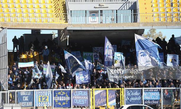 Supporters of Spal during the Serie A match between US Lecce and SPAL at Stadio Via del Mare on February 16 2020 in Lecce Italy