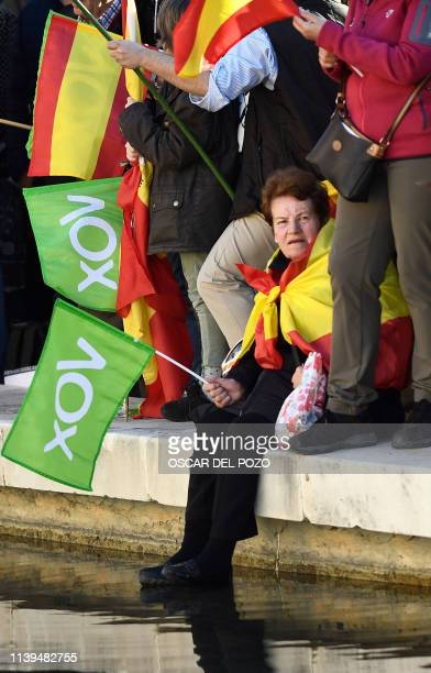 Supporters of Spanish farright party VOX await the start of their last campaign rally in Madrid on April 26 2019 ahead of the April 28 general...