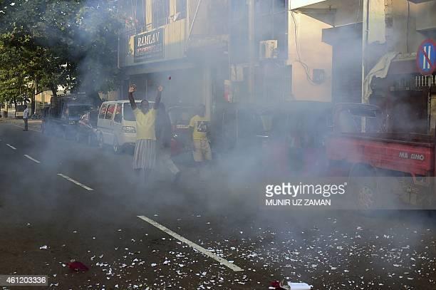 Supporters of Sri Lanka's Maithripala Sirisena celebrate with fireworks in the streets of Colombo after Sri Lanka's President Mahinda Rajapakse...