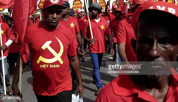 Supporters of Sri Lanka's Marxist JVP also known as the People's Liberation Front participate in a Labour Day demonstration in Colombo on May 1 2015...