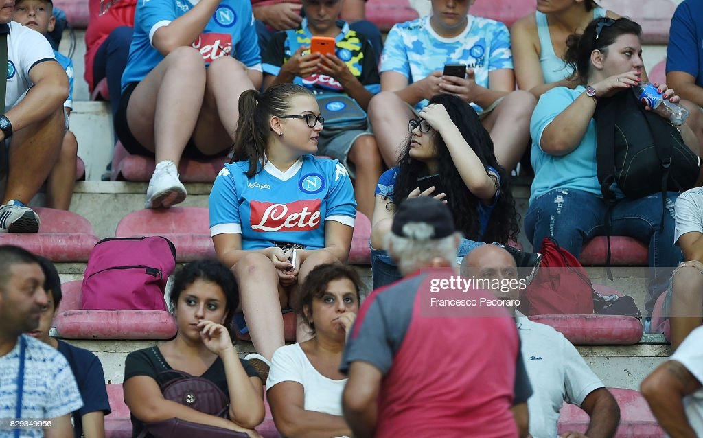 Supporters of SSC Napoli before the pre-season friendly match between SSC Napoli and Espanyol at Stadio San Paolo on August 10, 2017 in Naples, Italy.