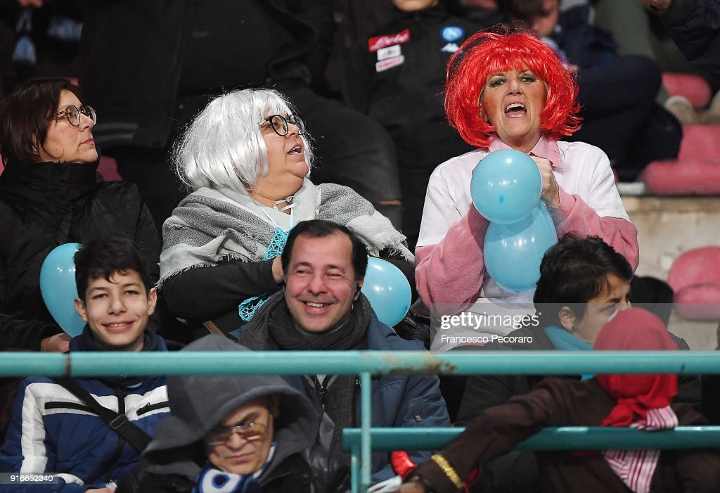 Supporters of SSC Napoli before the serie A match between SSC Napoli and SS Lazio at Stadio San Paolo on February 10, 2018 in Naples, Italy.