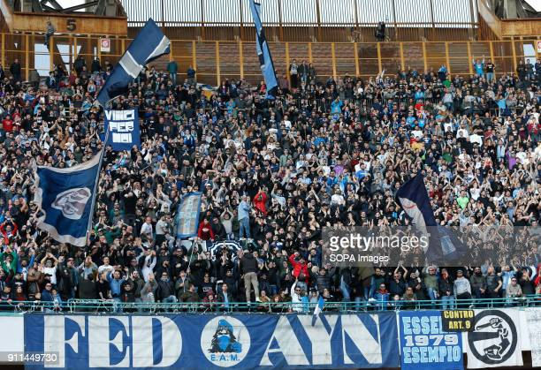 PAOLO NAPLES CAMPANIA ITALY Supporters of SSC Napoli in action during the Italian Serie A match between SSC Napoli and Bologna at San Paolo Stadium