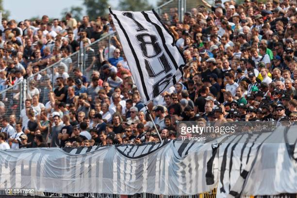 Supporters of SSV Ulm are seen prior to the DFB Cup first round match between SSV Ulm 1846 Fussball and Eintracht Frankfurt at Donaustadion on August...