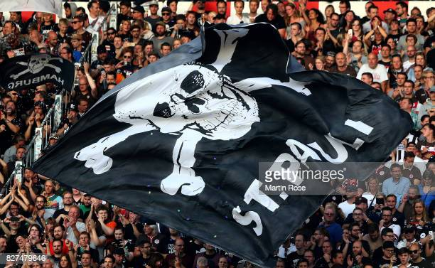 Supporters of St Pauli during the Second Bundesliga match between FC St Pauli and SG Dynamo Dresden at Millerntor Stadium on August 7 2017 in Hamburg...