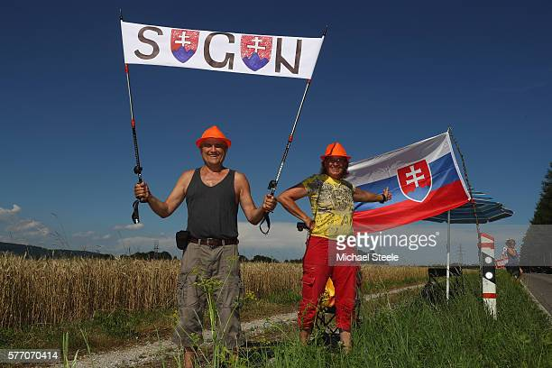 Supporters of stage winner Peter Sagan of Slovakia and Tinkoff line the route during the 209 kms stage 16 of Le Tour de France from MoiransEnMontagne...