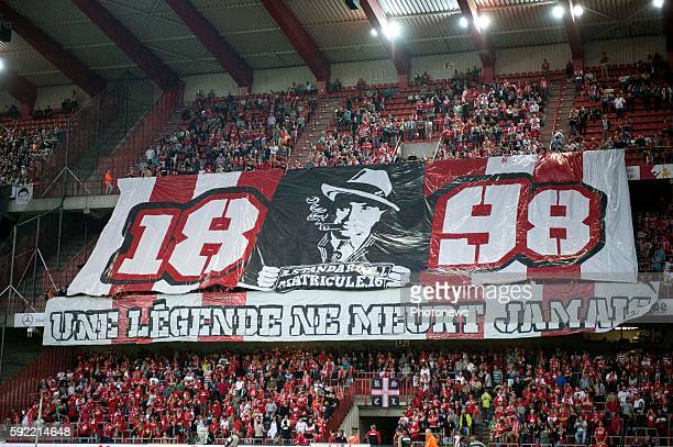 Supporters of Standard Liege pictured during Jupiler Pro League match between Standard of Liege and Sporting of Charleroi on August 19, 2016 in...