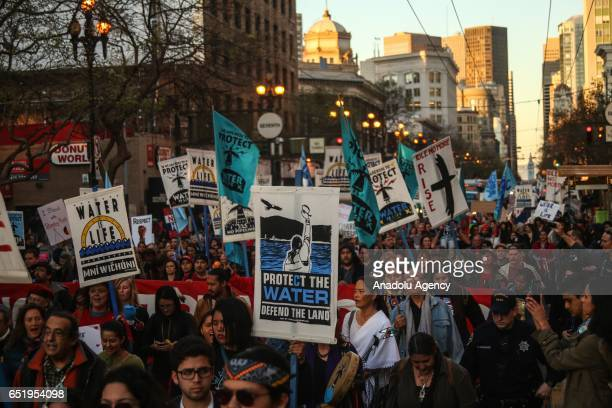 Supporters of Standing Rock Sioux Tribe attend a protest against the construction of the Dakota Access Pipeline in San Francisco United States on...