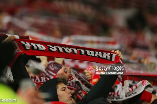 Supporters of Stuttgart are seen during the Second Bundesliga match between VfB Stuttgart and Fortuna Duesseldorf at MercedesBenz Arena on February 6...