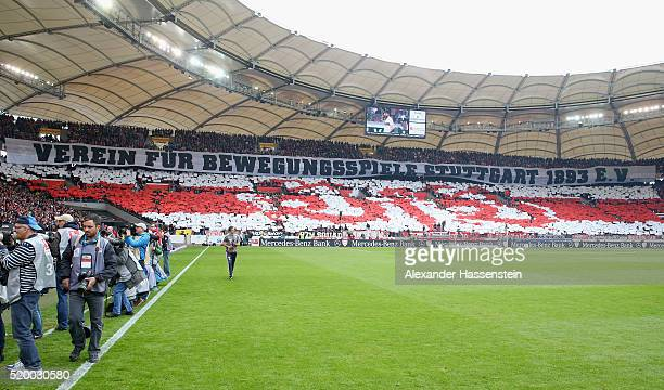 Supporters of Stuttgart create a choreography prior to the Bundesliga match between VfB Stuttgart and FC Bayern Muenchen at MercedesBenz Arena on...