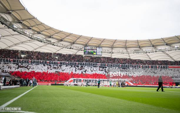 Supporters of Stuttgart react prior to the Bundesliga match between VfB Stuttgart and 1 FC Nuernberg at MercedesBenz Arena on April 6 2019 in...