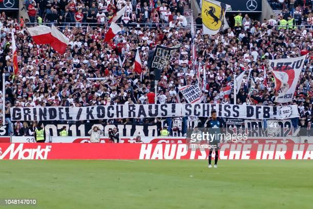 Supporters of Stuttgart show a banner during the Bundesliga match between VfB Stuttgart and SV Werder Bremen at MercedesBenz Arena on September 29...
