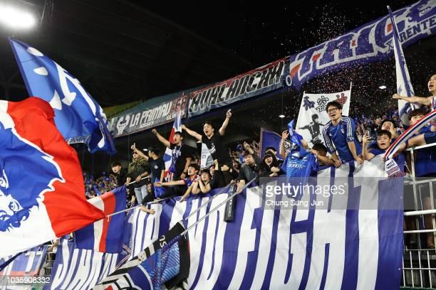 Supporters of Suwon Samsung Bluewings celebrate after winning the AFC Champions League Quarter Final second leg match between Suwon Samsung Bluewings...