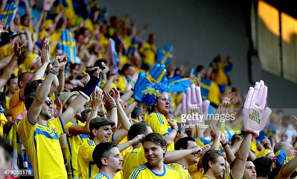 Supporters of Sweden cheer before the UEFA European Under21 final match between Sweden and Portugal at Eden Stadium on June 30 2015 in Prague Czech...