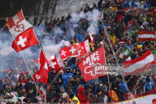 Supporters of swiss athlet Daniel Yule with pyrotechnics during the second run at the Audi FIS Alpine Ski World Cup Men's Slalom on January 28, 2020...