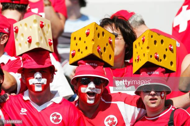 Supporters of Switzerland during the European Championship match between England and Switzerland at Estadio Cidade de Coimbra, Coimbra, Portugal on...
