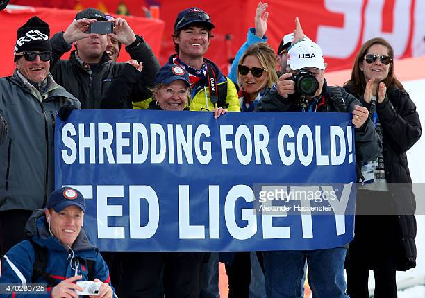 Supporters of Ted Ligety display a banner during the flower ceremony for Alpine Skiing Men's Giant Slalom on day 12 of the Sochi 2014 Winter Olympics...