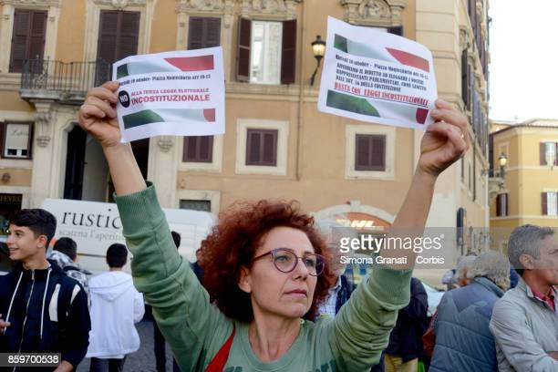 Supporters of the 5 Star Movement protest before the Parliament against the electoral law called Rosatellum Bis under discussion in the Parliament...