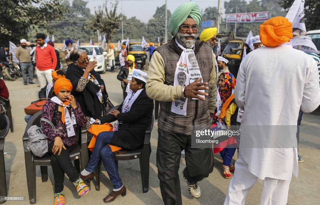 Supporters of the Aam Aadmi Party gather for a state election rally in Amritsar Punjab India on Sunday Jan 22 2017 Harnessing distress over rural...