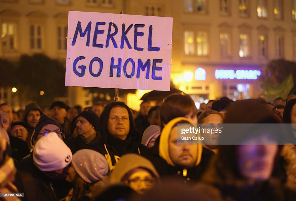 AfD Supporters Protest Against Liberal Migrants Policy : News Photo