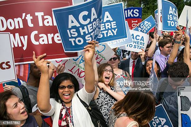 STATES JUNE 25 Supporters of the Affordable Care Act celebrate as the opinion for health care is reported outside of the Supreme Court in...