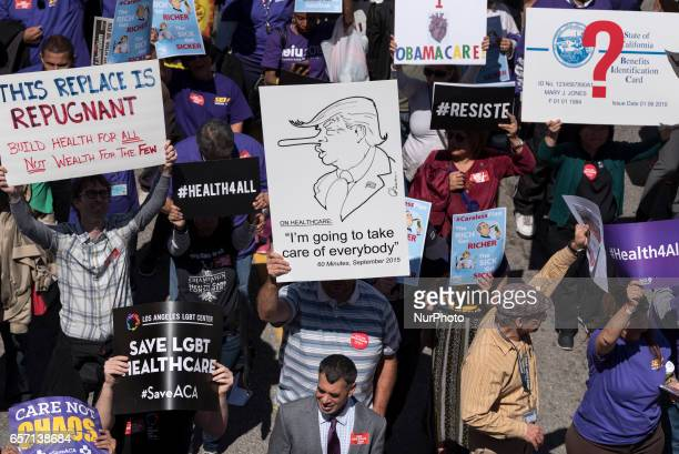 Supporters of the Affordable Care Act participate in a quotSave Obamacarequot rally in Los Angeles California on March 23 2017