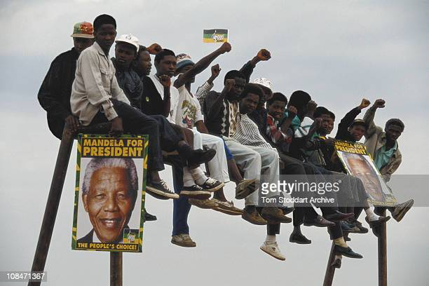 Supporters of the African National Congress at a rally addressed by ANC leader Nelson Mandela in the run up to South Africa's first General Election...