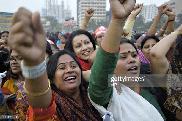 Supporters of the Awami League party shout slogans during an election campaign rally in Dhaka on December 26 2008 Bangladesh holds its first...